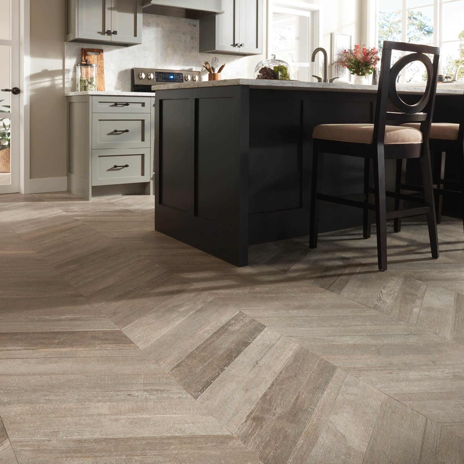 Glee chevron tile in kitchen | Great Lakes Carpet & Tile